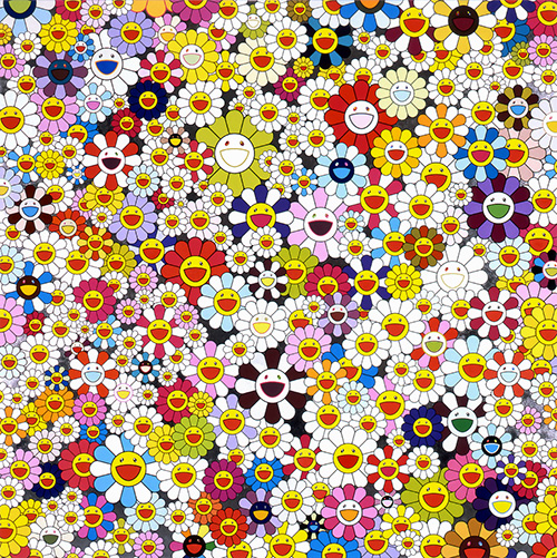 Takashi Murakami Flowers, flowers, flowers, 2010 acrylic and platinum leaf on canvas mounted on aluminum frame Collection of the Chang family, Taiwan © 2010 Takashi Murakami/Kaikai Kiki Co., Ltd. All Rights Reserved