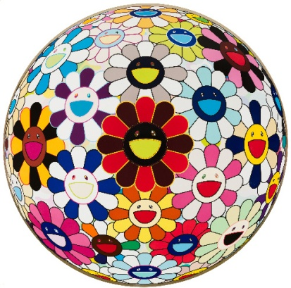 Takashi Murakami Flower Ball (Lots of Colors), 2008 acrylic and platinum leaf on canvas mounted on board, Collection of Cari and Michael J. Sacks © 2008 Takashi Murakami/Kaikai Kiki Co., Ltd. All Rights Reserved Photo: Nathan Keayaluminum