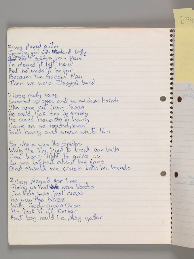 "Original lyrics for ""Ziggy Stardust,"" by David Bowie, 1972. Courtesy of The David Bowie Archive. Image © Victoria and Albert Museum"