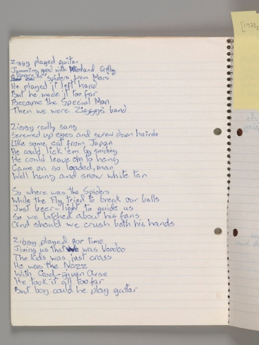 """Original lyrics for """"Ziggy Stardust,"""" by David Bowie, 1972. Courtesy of The David Bowie Archive. Image © Victoria and Albert Museum"""