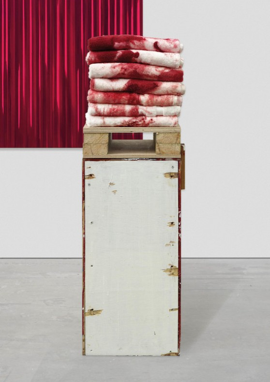 Rachel Howard Paintings of Violence (Why I am not a mere Christian) (detail) 2011 - 2016 Oil and acrylic on canvas, wood, 7 towels, and pigment 10 canvases, each 168 x 168 cm / (10 canvases, each 66⅛ x 66⅛ in) Box: 77.5 x 35.6 x 33 cm (30½ x 14 x 13 in) With towels: 109.2 x 35.6 x 33 cm (43 x 14 x 13 in) Courtesy the artist and Blain|Southern