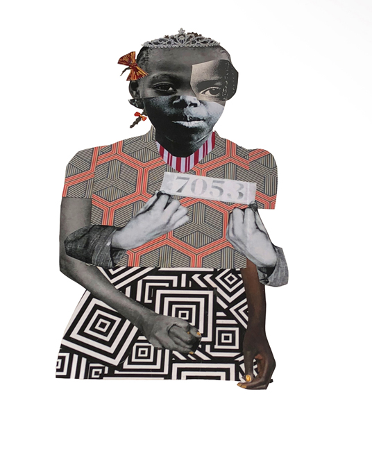 DEBORAH ROBERTS, BREAKING RANKS, 2018, COLLAGE AND GOLD PIGMENT ON PAPER, 30 X 22 IN