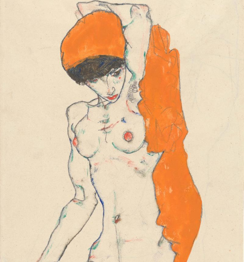 Egon Schiele, Standing Nude with Orange Drapery